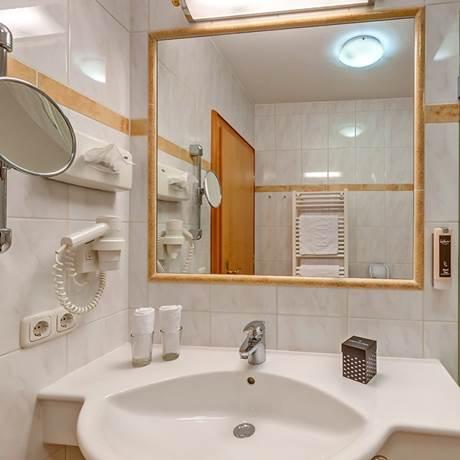Blick auf Dusche und Waschbecken vom Badezimmer beim Komfort-Doppelzimmer Waldruhe