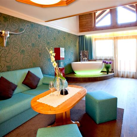 View of the living area of the Private Wellness Suite Tirol