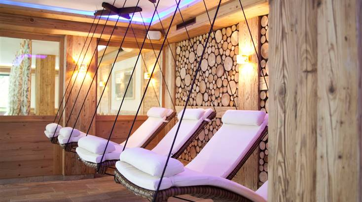 View of hanging loungers from the Sky Spa