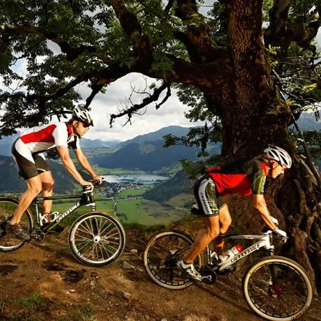 Zwei Mountainbiker auf Singletrail